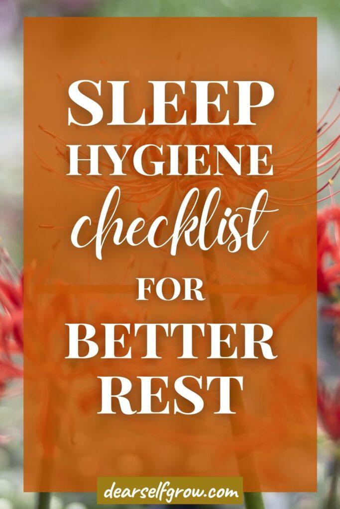 sleep hygiene checklist for better rest - pin image