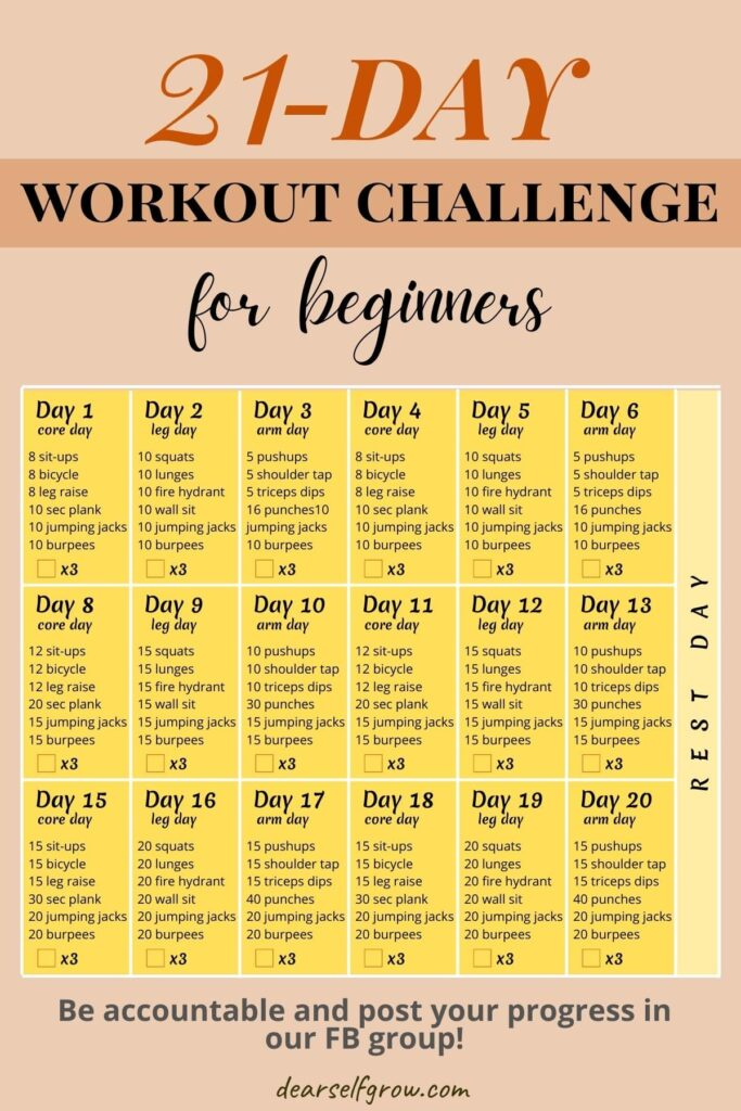 21-day workout challenge for beginners